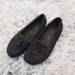 Clark's Black Textured Slip On Loafers